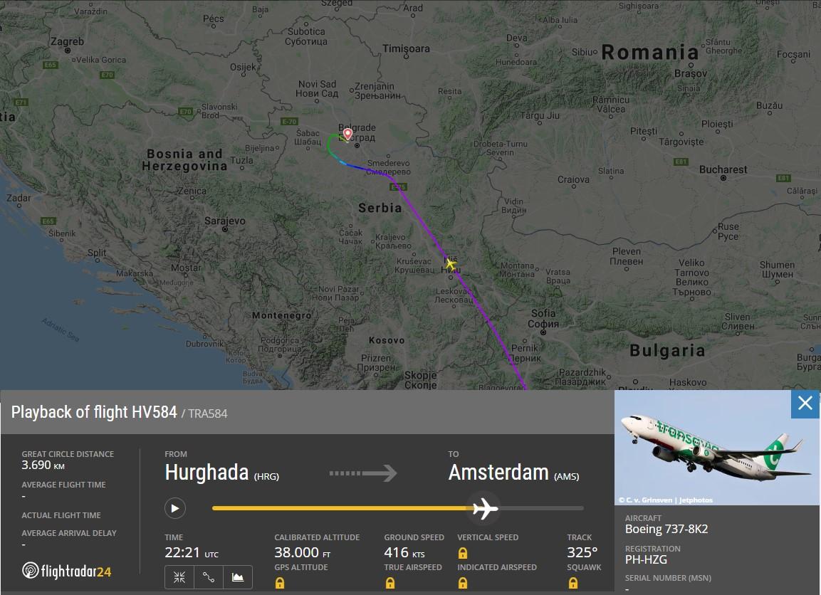 vlucht hv584 op flightradar